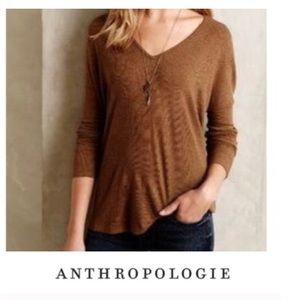 Anthropologie Bordeaux Tan Ribbed Top